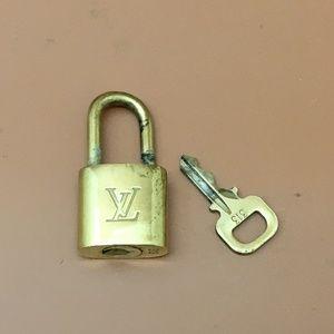 Louis Vuitton Gold Brass Lock and Key Set #313